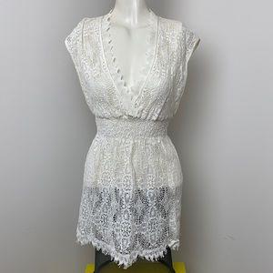 Cynthia Steffe Ivory Lace Crochet Dress Sz M/L